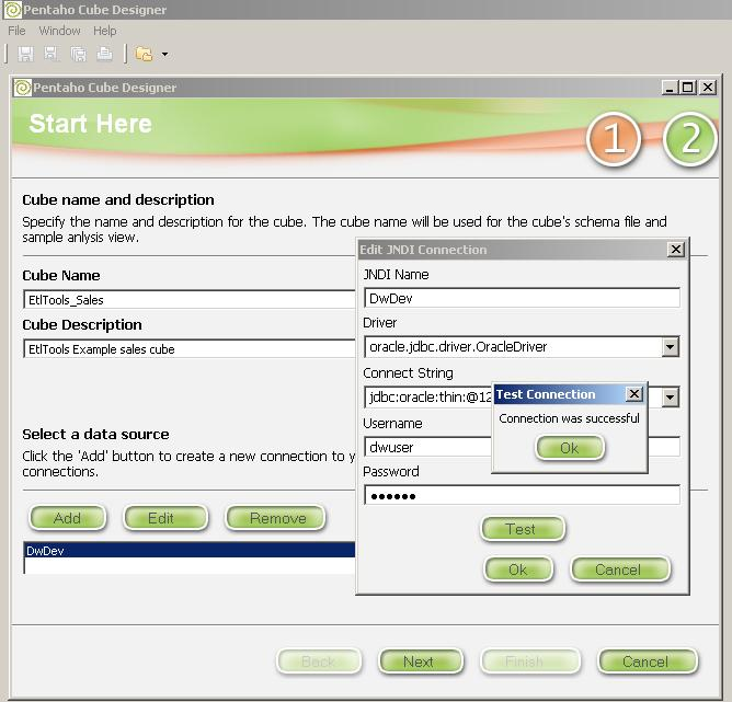 Configuración de la conexión a la base de datos que sirve datos para un cubo OLAP Mondrian