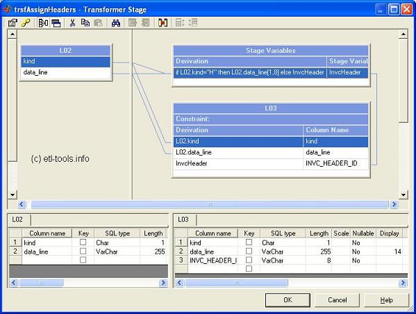 A datastage transformer which assigns headers using a stage variable