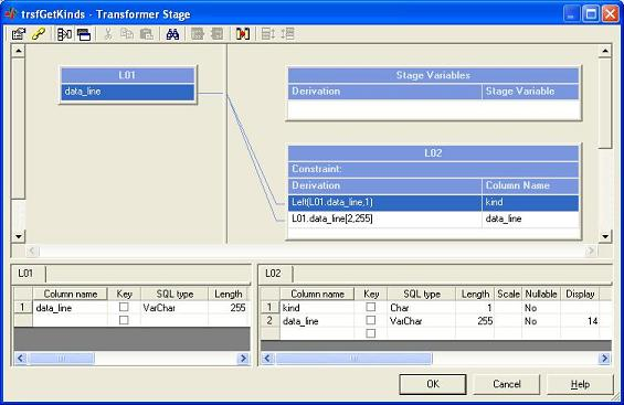 The transformer reads first character of each line to mark records and divide them into kinds