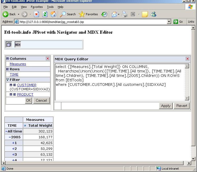 JPivot with the navigator and MDX query editor